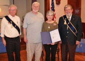 Photo courtesy of the Piscataquis Observer includes Walter Boomsma, program director, Bill and Julie Orton, and Jim Annis, master.
