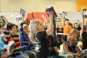 """Ridgeview third graders get ready for a """"dictionary race."""""""