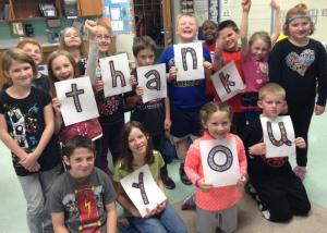 Mrs. Kennedy's PCES Third Graders included a thank you photo.